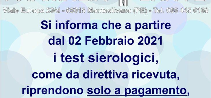 AVVISO TEST SIEROLOGICI – RIPRESA DEI TEST SIEROLOGICI SOLO A PAGAMENTO DAL 02 FEBBRAIO 2021